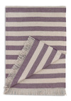 DwellStudio Fireside by Side Throw by DwellStudio - Purple, Tan / Cream, Stripes, Dorm Decor, Graduation