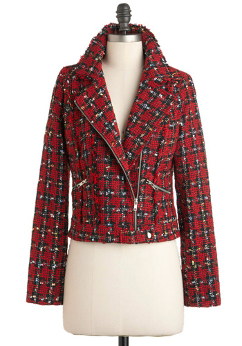 New York Fashion Chic Jacket - Red, Black, White, Exposed zipper, Pockets, Long Sleeve, Short, 2, Casual, Vintage Inspired, 90s, Fall