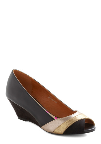 Guest Soloist Wedge - Black, Gold, Low, Wedge, Peep Toe, Leather, Party, Casual, Vintage Inspired, 80s, Holiday Party, Mid, International Designer