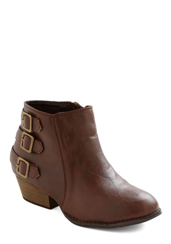 At Your Best Bootie - Buckles, Steampunk, Low, Casual, Fall, Faux Leather, Brown, Winter, Basic