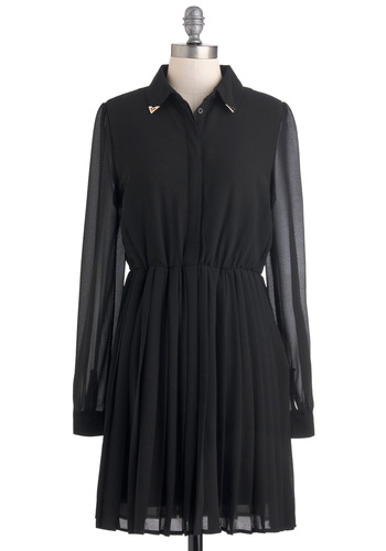 First Evening Star Dress - Black, Solid, Pleats, Work, Shirt Dress, Long Sleeve, Fall, Mid-length, Sheer, Menswear Inspired, Button Down, Collared