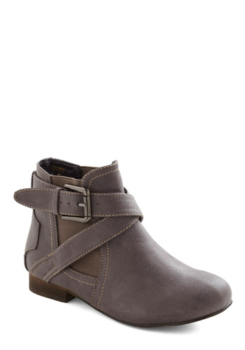 Cloud Around Bootie - Grey, Buckles, Casual, Rustic, Fall, Faux Leather, Low