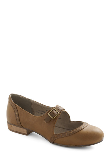 Thesis the Plan Flat in Camel by Restricted - Low, Leather, Tan, Buckles, Casual, Vintage Inspired, Mary Jane, Variation