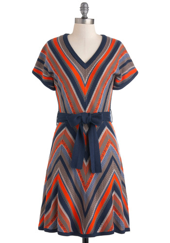 Cabin Dreaming Dress - Multi, Orange, Blue, Grey, Stripes, Casual, Short Sleeves, Fall, Belted, Mid-length, Sheath / Shift, 70s, Rustic, Sweater Dress, V Neck, Chevron