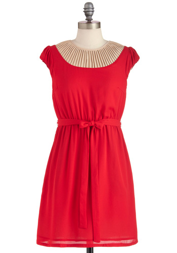 My Kinda Party Dress - Red, Tan / Cream, Solid, Party, A-line, Cap Sleeves, Belted, Mid-length, Sheer