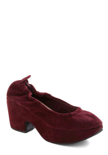 Sunday Scrunch Heel by Restricted - Mid, Suede, Red, Party, Work, Casual, Fall, Holiday Party, Leather, Platform
