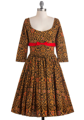 Tulip Tea Party Dress in Flourishes - Long, Gold, Red, Black, Floral, Bows, Party, Vintage Inspired, Fit & Flare, 3/4 Sleeve, Fall, 50s, Cotton