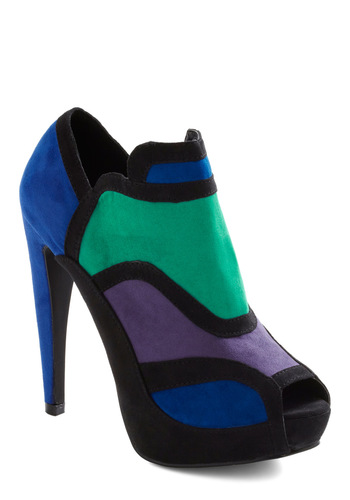 Atlantic Pretty Heel - High, Multi, Green, Blue, Purple, Black, Party, Girls Night Out, Colorblocking, Faux Leather, Platform, Peep Toe