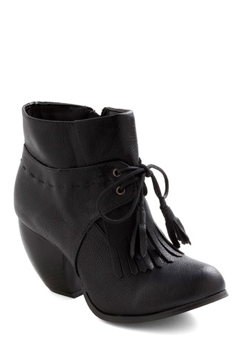 Canter Get Enough Boot in Black - Black, Solid, Fringed, Tassels, Lace Up, Chunky heel, Mid, Fall, Faux Leather, Steampunk, Variation