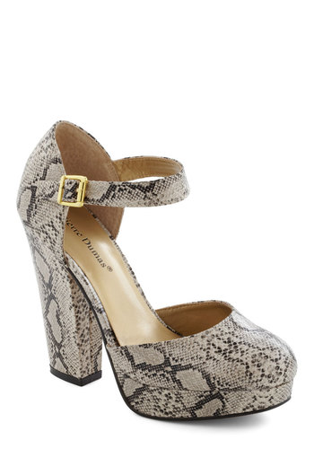Trip to the Tropics Heel in Snakeskin - Cream, Multi, Animal Print, High, Chunky heel, Party, Girls Night Out, Pinup, Urban, Platform