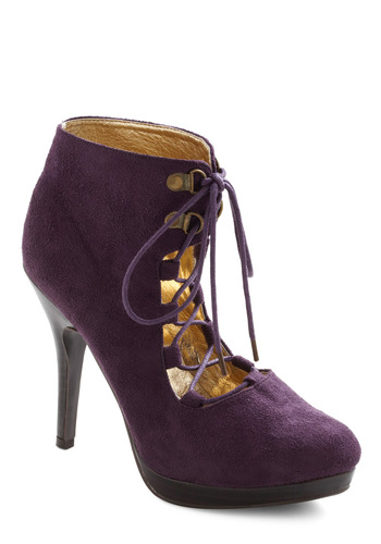 Oohs and Aubergine Heel - Purple, Lace Up, High, Faux Leather, Party, Girls Night Out, Urban, Platform