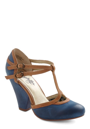 Fourth Wall Heel by Seychelles - Blue, Tan / Cream, Mid, Party, Work, Vintage Inspired, Buckles, Best, T-Strap