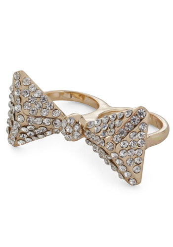 Tied for Gold Ring - White, Gold, Bows, Rhinestones, Luxe, Cocktail, Holiday Party, Daytime Party
