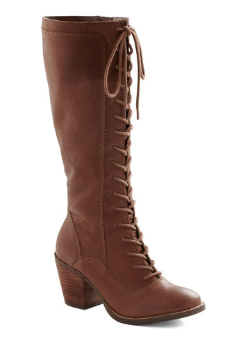 I Got Mine Boot by Seychelles - Brown, Solid, Mid, Lace Up, Casual, Fall