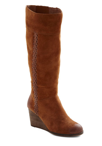 Braids and Beauty Boot by Lucky - Mid, Leather, Suede, Brown, Solid, Casual, Rustic, Fall, Wedge