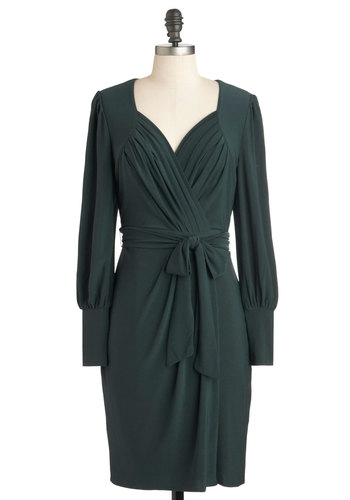 Parks and Adoration Dress by Darling - Mid-length, Solid, Belted, Work, Long Sleeve, Fall, Green, Ruching, Wrap, Jersey, Sweetheart