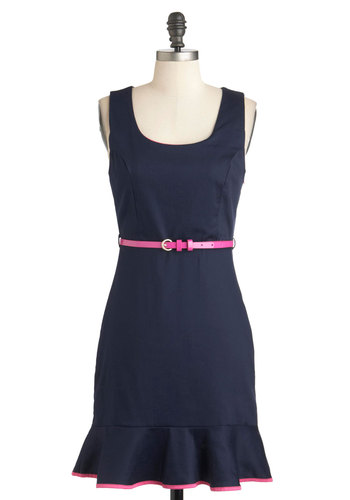 Best in the Biz Dress - Blue, Solid, Belted, Shift, Sleeveless, Mid-length, Cotton, Vintage Inspired, Neon