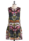 From Day to Flight Dress - Mid-length, Multi, Green, Pink, Multi, Print with Animals, Casual, Drop Waist, Sleeveless, 20s