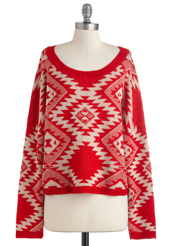 Altitude Adjustment Sweater - Red, Tan / Cream, Long Sleeve, Short, Print, Casual, Rustic, Fall, Winter, Knitted