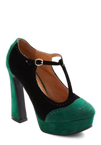 Made the Jade Heel - Green, Black, High, Chunky heel, Party, 90s, Holiday Party, Faux Leather, Platform, Good, T-Strap