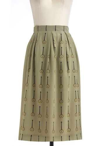 Bluegrass is Greener Skirt - Long, Green, Yellow, Black, A-line, Casual, Folk Art, Steampunk, Exclusives, Quirky, International Designer