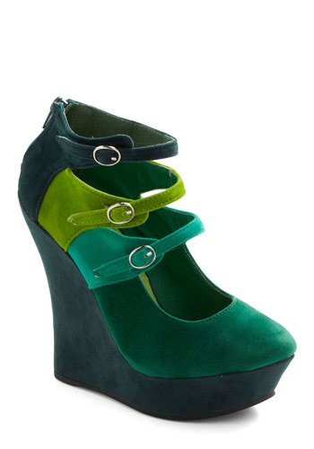 Spruce Upscale Wedge - Green, Buckles, High, Platform, Wedge, Mary Jane, Colorblocking