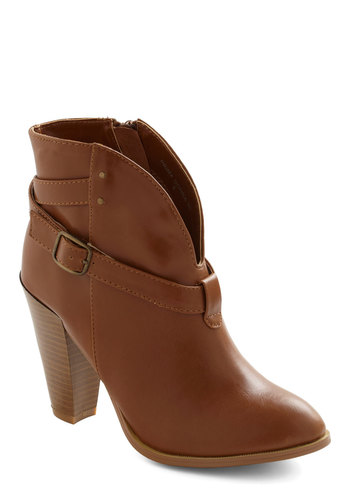 Maneuver On Over Bootie - High, Leather, Faux Leather, Brown, Buckles, Casual, Rustic