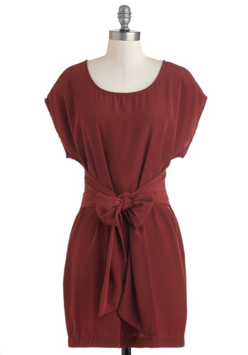 Scarlet Oak Dress - Mid-length, Red, Solid, Belted, Casual, Sheath / Shift, Short Sleeves, Fall