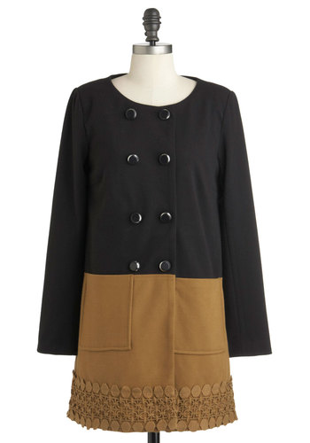 Precious Medallion Coat by Darling - Long, Black, Tan / Cream, Buttons, Pockets, Long Sleeve, 2, Lace, Party, Fall, Double Breasted, Colorblocking