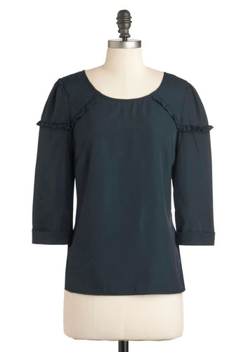 According to Cute Top - Blue, Solid, Ruffles, 3/4 Sleeve, Mid-length, Work, Casual, Vintage Inspired