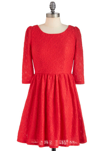 Red-volution in Lace Dress - Short, Red, Lace, Party, A-line, 3/4 Sleeve, Winter, Film Noir, Vintage Inspired, Holiday Party