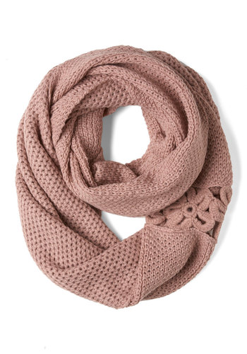 A Shortcut Above Scarf in Pink - Pink, Solid, Flower, Knitted, Pastel