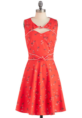 Good Ol' Daisy Dress in Strawberry by Trollied Dolly - Orange, Casual, A-line, Sleeveless, Mid-length, Floral, Cutout, Cotton, Belted, Daytime Party, Vintage Inspired, Holiday Sale, Fit & Flare, Sweetheart, International Designer, Coral, Summer, Variation