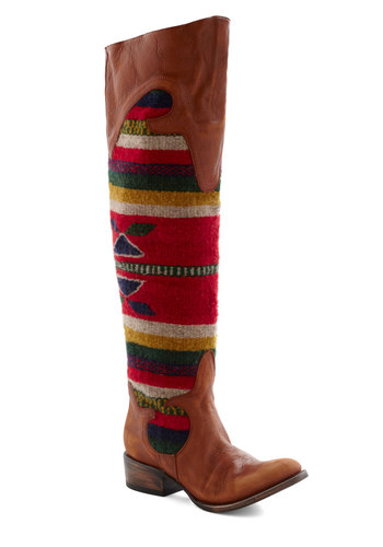 Trusty Rustic Boot by Freebird - Low, Leather, Brown, Red, Yellow, Green, Blue, Print, Casual, Folk Art, Rustic, Fall