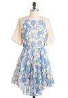 On the Money Dress - Blue, Pink, Print, 80s, A-line, Mid-length, Short Sleeves, Spring, Pastel, Sheer, Daytime Party