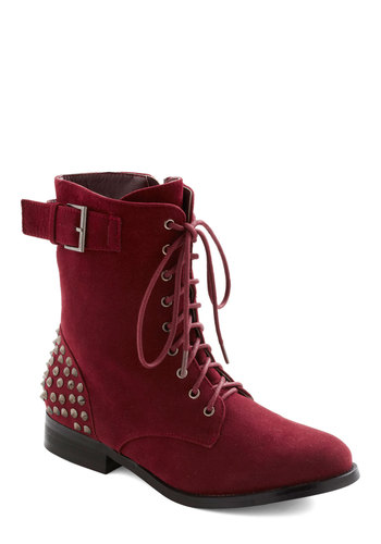 Gimme a Rivet Boot - Red, Solid, Studs, Lace Up, Low, Casual, 90s, Fall, Faux Leather