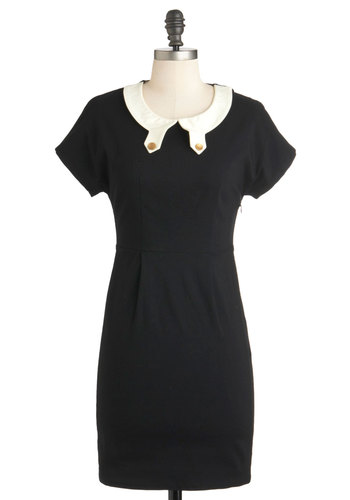 Text Support Dress - Mid-length, Black, Tan / Cream, Solid, Work, Shift, Short Sleeves, Exclusives, Holiday Sale, Collared