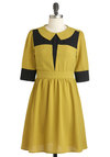 Won't Grow Up Dress - Black, Peter Pan Collar, Work, A-line, 3/4 Sleeve, Fall, Mid-length, Colorblocking, Collared, Yellow