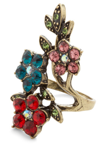 Vine-stone Ring in Vibrant - Multi, Red, Green, Blue, Pink, Rhinestones, Statement, Cocktail