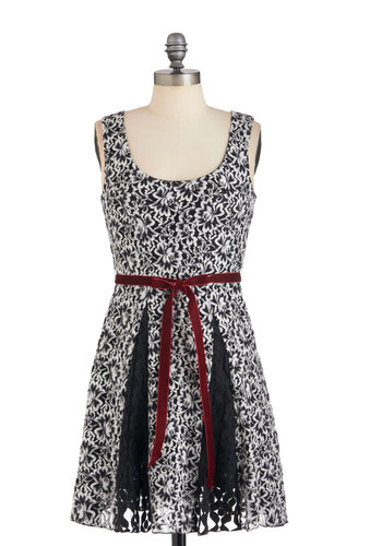 Godet by Day Dress - Black, White, Print, Party, A-line, Sleeveless, Belted, Mid-length, Cocktail