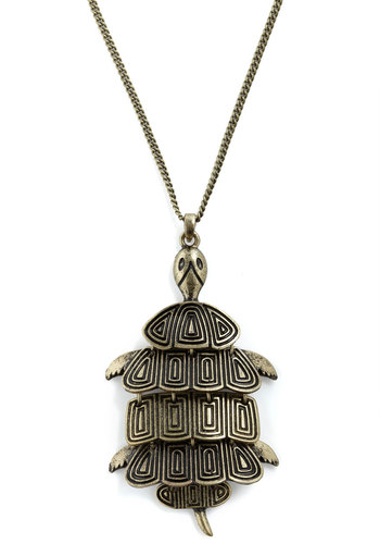 Terrapin Interest Necklace - Gold, Solid, Casual, Safari