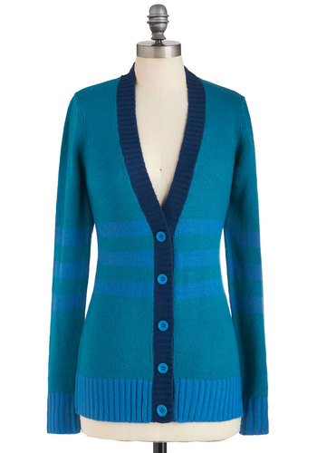 Essay Inspiration Cardigan - Blue, Stripes, Buttons, Casual, Long Sleeve, Menswear Inspired, Colorblocking, Scholastic/Collegiate, Button Down, V Neck