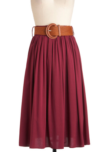 Road Trip Retreat Skirt by Pink Martini - Red, Solid, Belted, A-line, Work, Casual, Long
