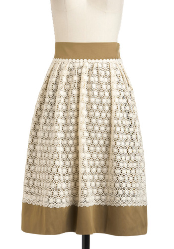 Landmarks the Spot Skirt by Pink Martini - Lace, Long, Brown, Tan / Cream, Work, Casual, Cotton, Daytime Party