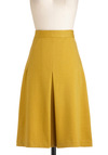 Teach Her Own Skirt by Pink Martini - Long, Yellow, Solid, A-line, Work, Casual, Scholastic/Collegiate, High Waist