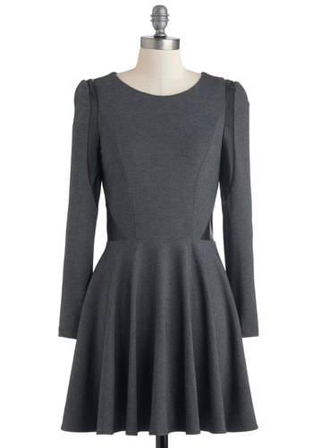 Future Tense Dress - Short, Cotton, Leather, Grey, Black, Solid, Exposed zipper, Casual, A-line, Long Sleeve, Fall, Scholastic/Collegiate, Fit & Flare, Faux Fur