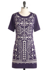 Acute is What You Aim For Dress - Purple, White, Print, Casual, Sweater Dress, Short Sleeves, Fall, Short, Cotton