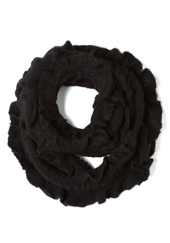 Winding Your Way Scarf - Black, Solid, Fall, Winter