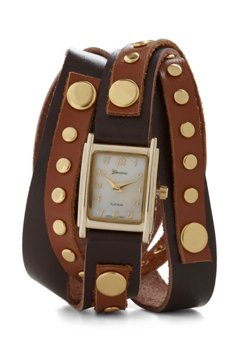 Wrap-sody in Brown Watch - Tan, Solid, Studs, Leather, Brown, Gold, Top Rated