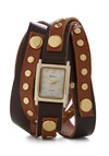 Wrap-sody in Brown Watch - Tan, Solid, Studs, Leather, Brown, Gold